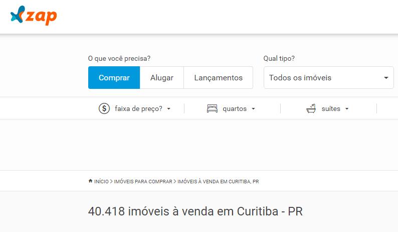 Sites de anúncio de imóveis em Curitiba