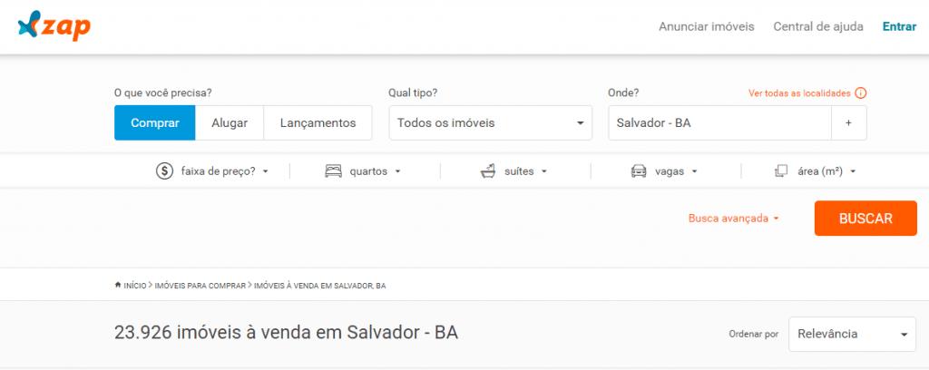 Sites de anúncio de imóveis em Salvador - Zap imóveis