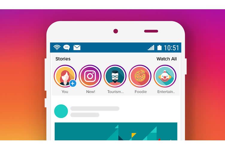 Cor de fundo com rosa e laranja assim como o Instagram e na imagem primária um celular com o instagram aberto.