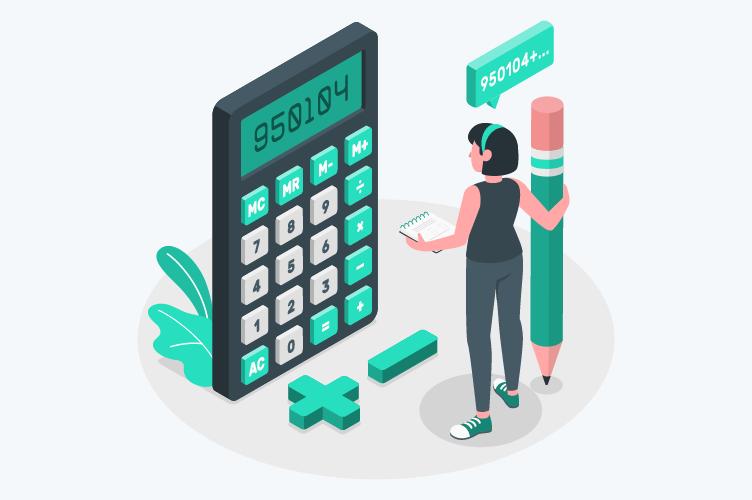 administradora de imoveis segurando um lápis, de frente para uma calculadora. Para calcular a taxa de administração de imóveis