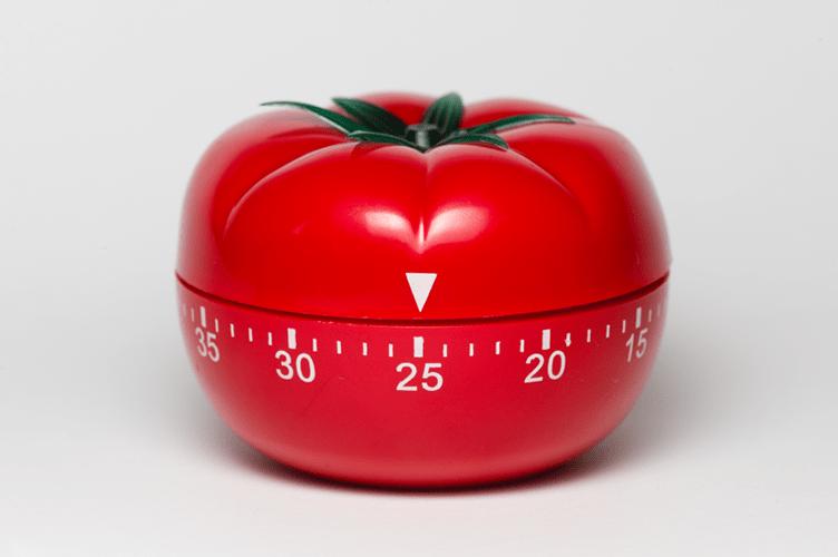modelo de um temporizador pomodoro. Inspiração para o nome da técnica pomodoro para o corretor de imóveis parar de procrastinar.