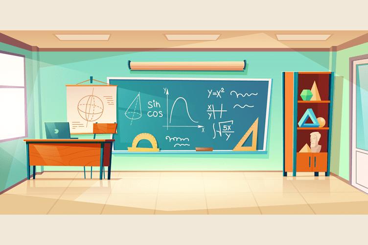 o que são técnicas de vendas de imóveis? Uma sala de aula, com uma lousa e equações matemáticas no quadro.