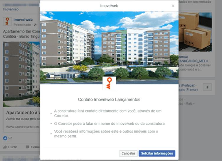 exemplo de como o imovelweb captura leads pelo facebook para vender imóveis