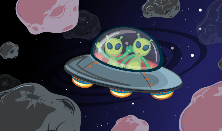 um OVINI com dois ETS dentro. No espaço.