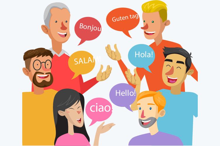 para vender imóveis para estrangeiros precisa falar outra lingua. na ilustração, várias pessoas conversando em diversos idiomas.