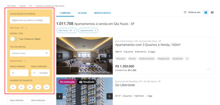 Print da página de resultado de pesquisa do portal imobiliário VivaReal. A esquerda estão os filtros e a direita os anúncios dos imóveis.