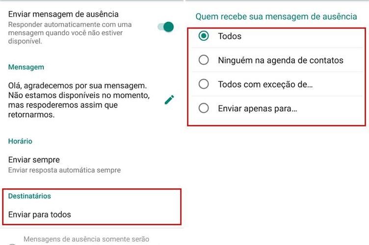 whatsapp para o corretor de imóveis enviar mensagem de ausência